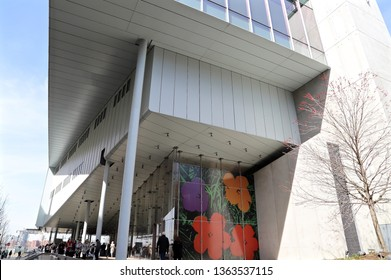 """NEW YORK CITY MARCH 27 2019: Whitney Museum of American Art inChelsea during exhibition """"Andy Warhol—From A to B and Back Again"""""""