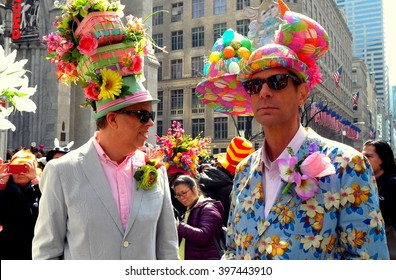 New York City - March 27, 2016:  Two men with creative bonnets at the Fifth Avenue Easter Parade *