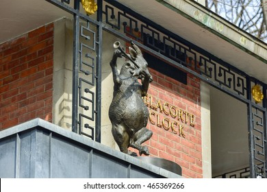 New York City - March 27, 2016: Delacorte Music Clock by the Central Park Zoo in Manhattan. It is a three-tiered mechanical clock which plays music as the animals spin around.