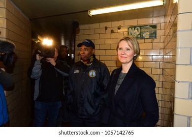 NEW YORK CITY - MARCH 28 2018: Newly announced NY gubernatorial candidate Cynthia Nixon toured NYCHA's Albany Houses with Borough President Eric Adams & members of tenants' associations