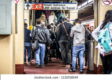 NEW YORK CITY - MARCH 29, 2018:  View of Long Island Railroad commuters at Pennsylvania Station in New York City.