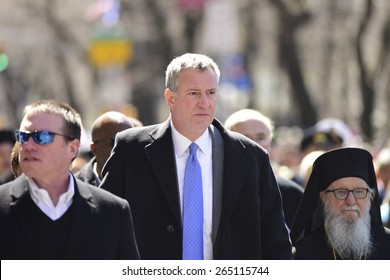 NEW YORK CITY - MARCH 29 2015: the 84th annual Greek Independence Day parade took place on 5th Avenue marking the 194th year of Greek independence from the Ottoman Empire. Mayor Bill de Blasio,