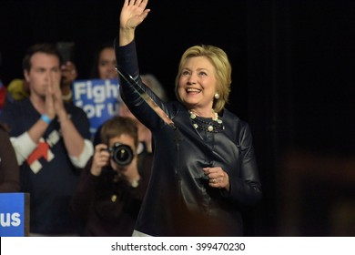 NEW YORK CITY - MARCH 29 2016: Democratic front runner Hillary Clinton appeared before hundreds of supporters in Harlem's Apollo Theater to hear her address issues.