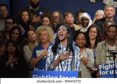 NEW YORK CITY - MARCH 29 2016: Democratic front runner Hillary Clinton appeared before hundreds of supporters in Harlem's Apollo Theater to hear her address issues. Renee Elise Goldsberry sings anthem