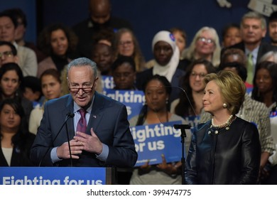 NEW YORK CITY - MARCH 29 2016: Democratic front runner Hillary Clinton appeared before supporters in Harlem's Apollo Theater to hear her address issues. Sen Charles Schumer & Hillary Clinton