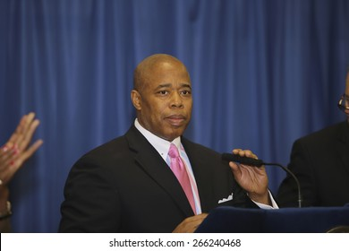 NEW YORK CITY - MARCH 31 2015: mayor de Blasio & senator Charles Schumer held a press conference with Brooklyn elected officials to announce a 3 billion dollar FEMA grant to the NYCHA. Eric Adams