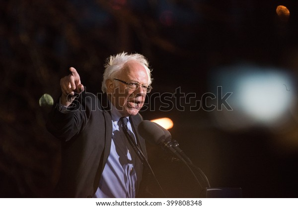 NEW YORK CITY - MARCH 31 2016: Democratic presidential candidate Bernie Sanders appeared before thousands of supporters at St Mary's Park, The Bronx