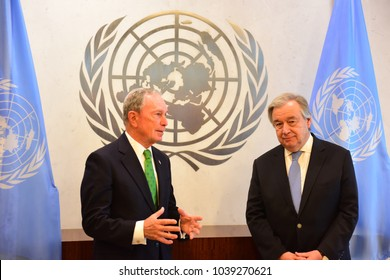 NEW YORK CITY - MARCH 5 2018: Former NYC Mayor Mike Bloomberg was appointed special envoy on climate change by UN Secretary-General Antonio Guterres