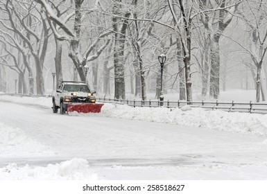 NEW YORK CITY - MARCH 5, 2015. A late season snowfall dumped over eight inches of snow and had the streets of New York City filled with trucks with plows removing snow all day after the storm.