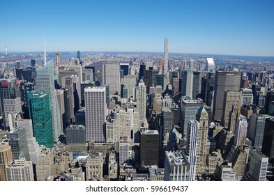 NEW YORK CITY - MARCH 5: Cityscape aerial view of Manhattan, March 5 2017 in New York, USA