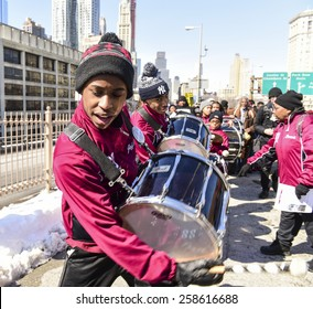 """NEW YORK CITY - MARCH 7 2015: hundreds followed Brooklyn borough president Eric Adams in a march across the Brooklyn Bridge to mark the 50th anniversary of the """"Bloody Sunday"""" march in Selma, AL"""