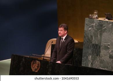 NEW YORK CITY - MARCH 8 2018: The UN GA observed International Women's Day with a series of speakers including keynote speaker, Monica Ramirez. GA President Miroslav Lajcak speaks