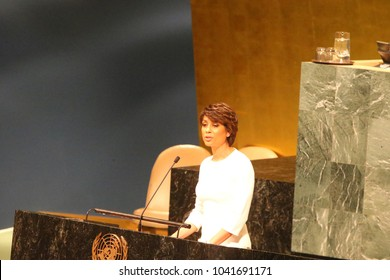 NEW YORK CITY - MARCH 8 2018: The UN GA observed International Women's Day with a series of speakers including keynote speaker, Monica Ramirez. MC Sade Baderinwa on stage