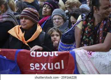 NEW YORK CITY - MARCH 8 2015: United Nations International Women's Day was marked with a rally in Dag Hammarskjold Plaza & march to Times Square.