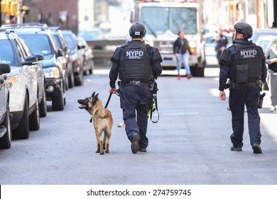 NEW YORK CITY - MAY 1 2015: NYPD emergency services, K9 & helicopter patrol search a closed off a block in Sunset Park, Brooklyn, for a robbery suspect. K9 officers in the street