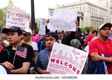 NEW YORK CITY - MAY 1 2017: Marches & rallies in support of labor, healthcare & immigrants throughout Lower Manhattan