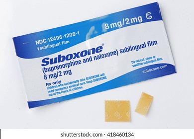 NEW YORK CITY - MAY 10 2016: Suboxone combines bupenorphine, a long-acting narcotic, & naloxone, a opiate antagonist administered sublingualy to treat narcotics additions in long-term programs
