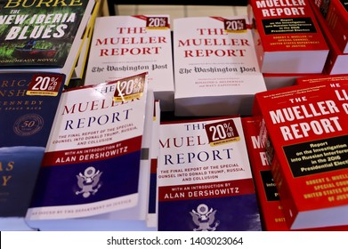 NEW YORK CITY MAY 11 2019: SPECIAL COUNSEL ROBERT MUELLER REPORT BOOKS sold at a Bookstore Midtown Manhattan