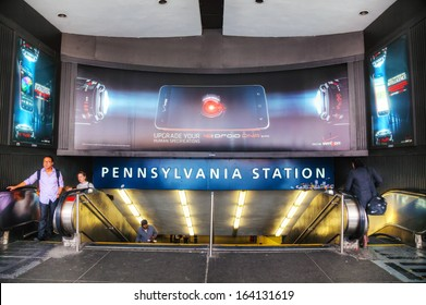 NEW YORK CITY - MAY 11: Entrance to Penn station on May 11, 2013 in New York City. Pennsylvania Station is a major intercity train station and a major commuter rail hub in New York City.