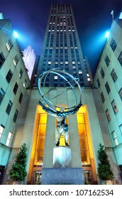 NEW YORK CITY - MAY 12: Atlas statue at Rockefeller Center May 12, 2012 in New York, NY. The statue was built by Lee Lawrie in 1937 and is the largest statue at the Rockefeller complex.