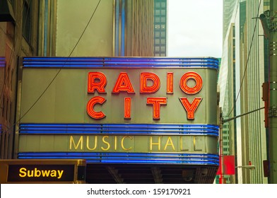 NEW YORK CITY - MAY 12: Radio City Music Hall sign on May 12, 2013 in New York City. It's an entertainment venue located in Rockefeller Center in New York City
