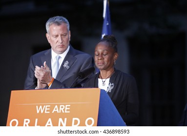 NEW YORK CITY - MAY 13 2016:  Andrew Cuomo & Bill de Blasio appeared in front of the Stonewall Inn for a vigil on behalf of the victims of the Orlando Pulse massacre. Chirlane McCray speaks