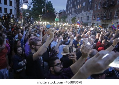 NEW YORK CITY - MAY 13 2016:  Andrew Cuomo & Bill de Blasio appeared in front of the Stonewall Inn for a vigil on behalf of the victims of the Orlando Pulse massacre