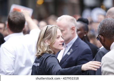 NEW YORK CITY - MAY 13 2016:  Andrew Cuomo & Bill de Blasio appeared together before the Stonewall Inn for a vigil for the victims of the Orlando massacre. Queens borough president Melinda Katz