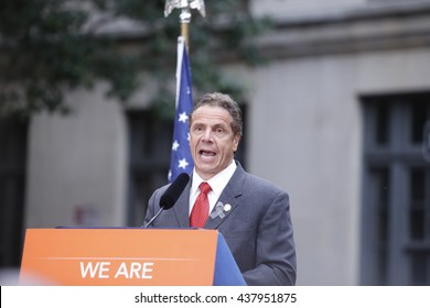 NEW YORK CITY - MAY 13 2016:  Andrew Cuomo & Bill de Blasio appeared together before the Stonewall Inn for a vigil for the victims of the Orlando massacre. NY governor Andrew Cuomo addresses vigil