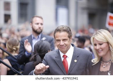 NEW YORK CITY - MAY 13 2016:  Andrew Cuomo & Bill de Blasio appeared together before the Stonewall Inn for a vigil for the victims of the Orlando massacre. Gov Cuomo arrives with Sandra Lee