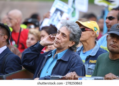 NEW YORK CITY - MAY 14 2015: several thousand tenants along with city council & state assembly members staged a march across the Brooklyn Bridge for affordable housing.