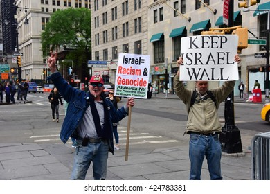 NEW YORK CITY - MAY 15 2016: Several hundred activists marked Al Nakbah, the expulsion of the Palestinians & formation of Israel, with a rally & march across the Brooklyn Bridge. Counter demonstrator