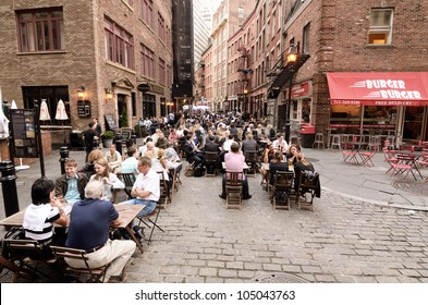 NEW YORK CITY - MAY 16: Stone Street May 16, 2012 in New York, NY. The historic street dates from 1660 and currently features outdoor dining when weather permits.