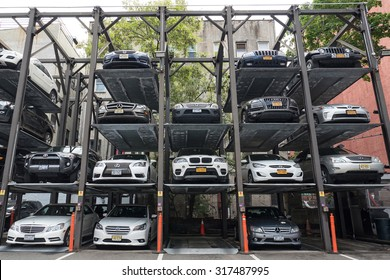 NEW YORK CITY - MAY 16, 2015: Automated car parking system supporting the lack of parking lots in the city.