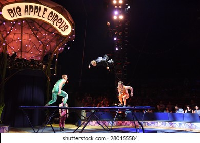 "NEW YORK CITY - MAY 17 2015: Big Apple Circus closed its 2015 season with a show in Cunningham Park, Queens, entitled ""Metamorphosis"" Trampoline"