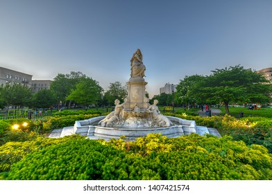 New York City - May 18, 2019: Heinrich Heine Fountain also known as Lorelei Fountain in Bronx, New York City. It is dedicated to the memory of the German poet and writer Heinrich Heine.