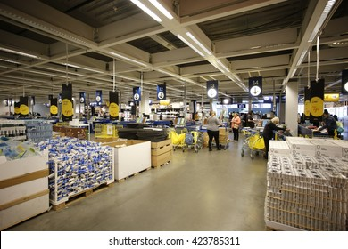 NEW YORK CITY - MAY 19 2016: Ikea is a group of international companies that designs & sells furniture, appliances & home goods from warehouse-like stores. Interior view of Red Hook, Brooklyn Ikea