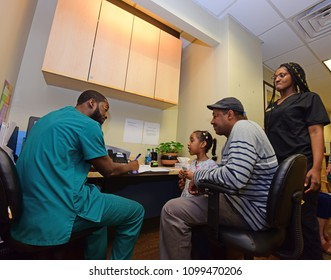 NEW YORK CITY - MAY 2 2018: Brooklyn Heights busiest audiology practice brings both adult & pediatric patients in for exams and treatment.