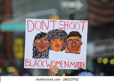 NEW YORK CITY - MAY 20 2015: playwrite Eve Ensler & National Black Programming Consortium director Kay Shaw led hundreds gathered at Union Square Park to protest police brutality against Black women.