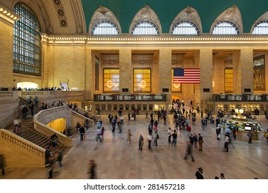 NEW YORK CITY - MAY 2015: People rushing inside the Main hall of Grand Central Station. The terminal is the largest train station in the world by number of platforms having 44.