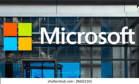 NEW YORK CITY - MAY 2015: Microsoft sign on a building in NYC. Microsoft Corporation is an American multinational technology company.