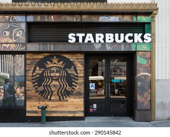 NEW YORK CITY - MAY 2015: Starbucks store. Starbucks is the largest coffeehouse company in the world.