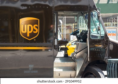 NEW YORK CITY - MAY 2015: UPS van parked in a street of New York City. UPS is one of largest package delivery companies worldwide.