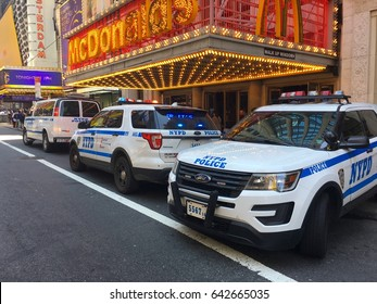 New York City - May 2017: Times Square car accident kills and injures pedestrians breaking news scene in Manhattan. NYPD patrol cars respond to crime scene deadly accident. driver arrest possible DWI