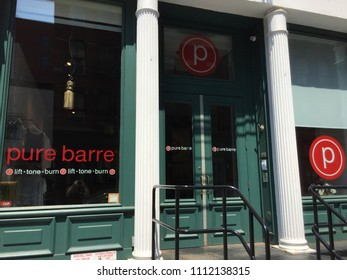 NEW YORK CITY - MAY 2018: Pure Barre fitness studio exterior shot. It is the largest, most established barre franchise in the nation, with more than 460 studios throughout the U.S. and Canada
