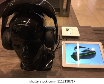 NEW YORK CITY - MAY 2018: Vuzix wearable video headphones on display. They provide mobile wearable video display and gaming solution with dual high-definition displays.