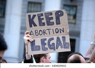 New York City - May 21, 2019: People protesting in support of abortion rights and against a wave of abortion bans in Lower Manhattan.