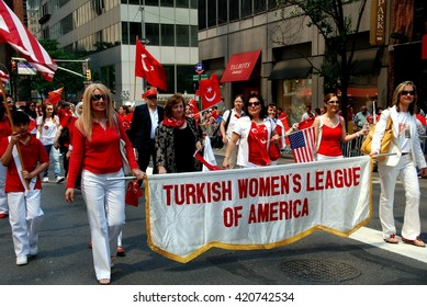 New York City - May 22, 2009:  Turkish Women's League of America marchers with their banner at the annual Turkish Day Parade on Madison Avenue