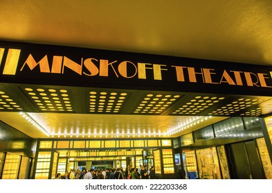 NEW YORK CITY - MAY 23, 2013: An exterior view of the Minskoff Theater featuring the Broadway play.