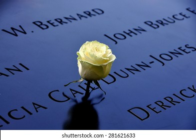 New York City - May 23, 2015:  A single white rose left in tribute amongst the inscribed victims names surrounding the 9/11 Memorial south tower footprint